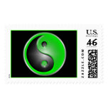 Green Yin & Yang Postage Stamps