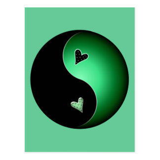 green yin yang postcard