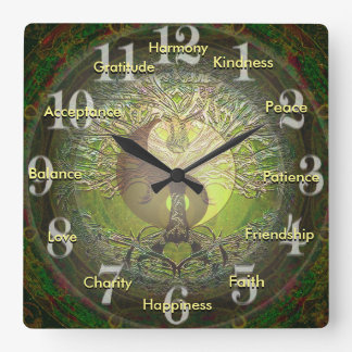 Green Yin Yang with Positive Words Square Wall Clock