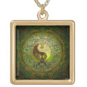 Green Yin Yang with Tree of Life Gold Plated Necklace (<em>$31.65</em>)