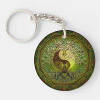Green Yin Yang with Tree of Life Keychain
