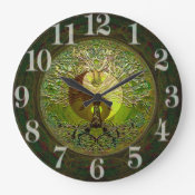 Green Yin Yang with Tree of Life Large Clock (<em>$31.65</em>)