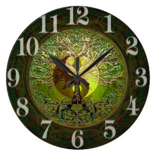 Green Yin Yang with Tree of Life Large Clock
