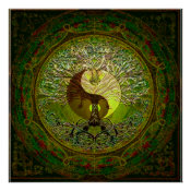 Green Yin Yang with Tree of Life Poster (<em>$18.75</em>)