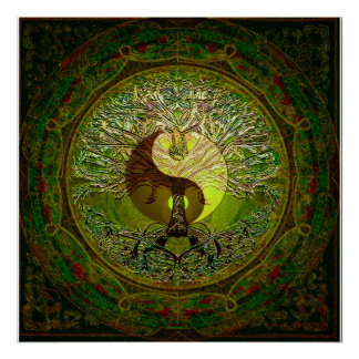 Green Yin Yang with Tree of Life Poster