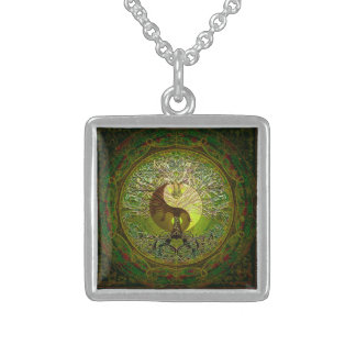 Green Yin Yang with Tree of Life Sterling Silver Necklace