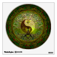 Green Yin Yang with Tree of Life Wall Decal