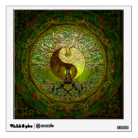 Green Yin Yang with Tree of Life Wall Sticker