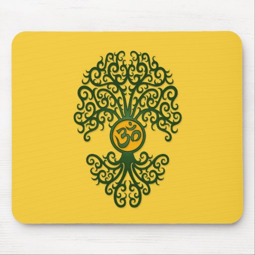 Green Yoga Om Tree on Yellow Mousepad