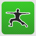 Green Yoga Square Sticker