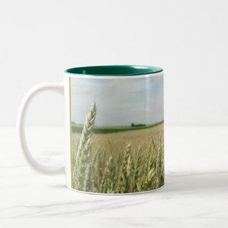 Green Young Wheat field Two-Tone Coffee Mug