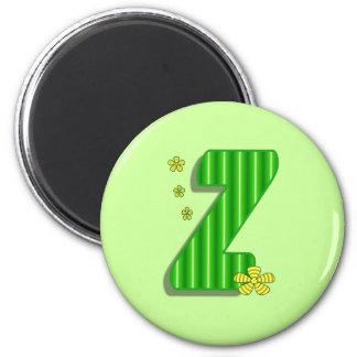 Green Z Monogram 2 Inch Round Magnet