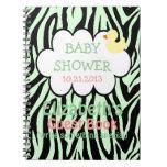 Green Zebra Baby Shower Guestbook Journals