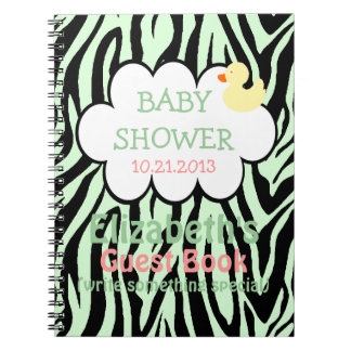 Green Zebra Baby Shower Guestbook Notebook