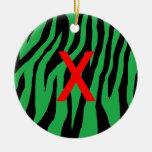 Green Zebra Christmas Ornament