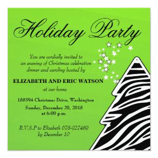 Green Zebra Christmas Tree Card