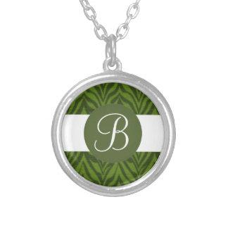 Green zebra custom monogram necklace