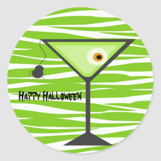 Green Zebra Eyeball Cocktail Halloween Sticker