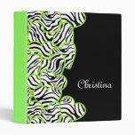 Green zebra hearts Binder