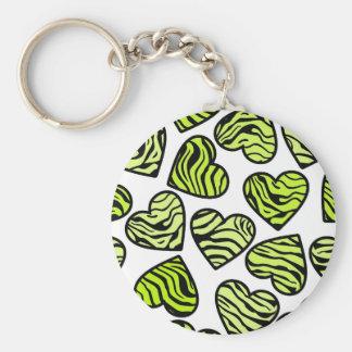 Green zebra hearts Keychain