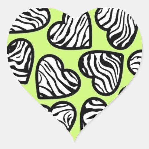 Green zebra hearts sticker