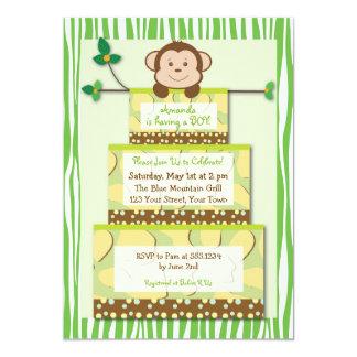Green Zebra Monkey Cake Baby Shower Invitation