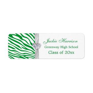 Green zebra pattern, ribbon Graduation label