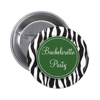 Green Zebra Print Bachelorette Party Button