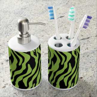 Green Zebra Print Bathroom Accessories Set. Safari Bath Sets   Zazzle