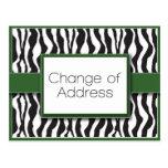 Green Zebra Print Change of Address Postcards