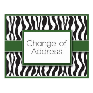 Green Zebra Print Change of Address Postcards