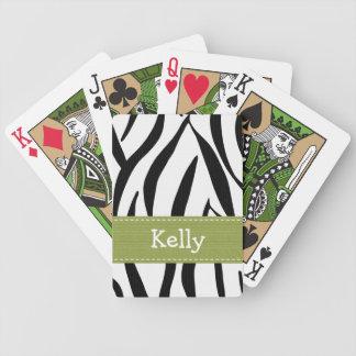 Green Zebra Print Deck Of Cards
