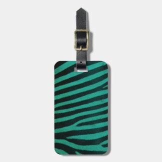 Green zebra Print. Luggage Tag