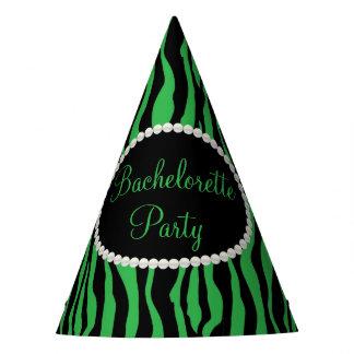 Green Zebra Print Pearls, Bachelorette Party Hats