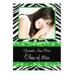 Green Zebra Sparkle Girls Graduation Party Invitation