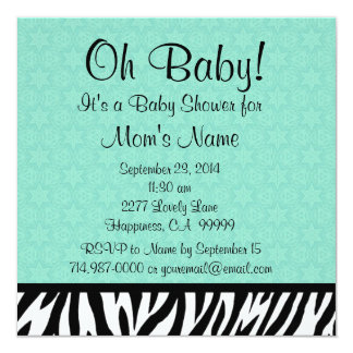Green Zebra  Stars Neutral Baby Shower Ver 2 B604 Card