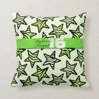 Green zebra stars Sweet 16 Birthday Pillow