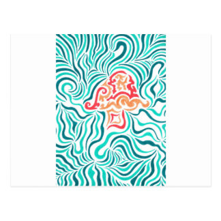 Green Zebra Stripe And Mushroom Postcard