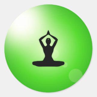 Green Zen Meditation Classic Round Sticker