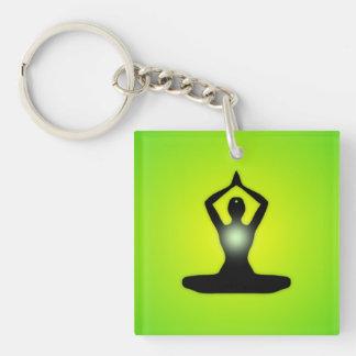Green Zen Meditation Sunburst Keychain