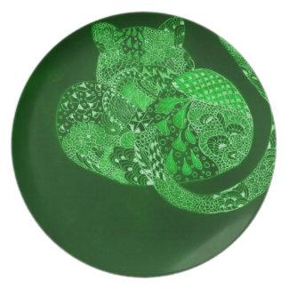 Green Zentangle leopard Dinner Plate