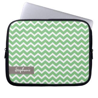 Green Zig Zag Chevrons Pattern Computer Sleeve