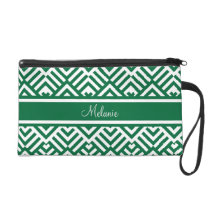 Green zig zag pattern with name wristlet purse