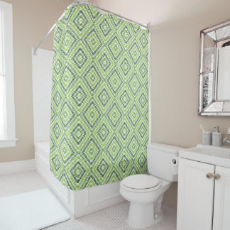 Green Zig Zag Shower Curtain