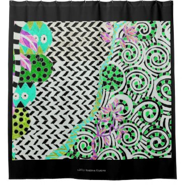 Ocean Themed GREEN ZIGZAG ABSTRACT 2 SHOWER CURTAIN