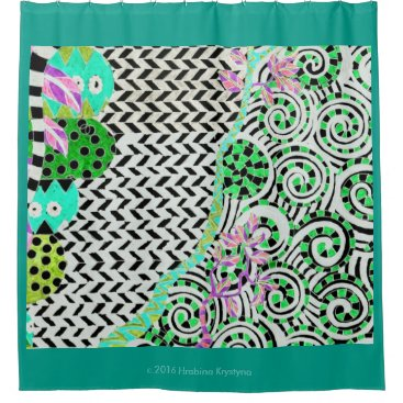 Ocean Themed GREEN ZIGZAG ABSTRACT SHOWER CURTAIN