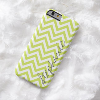 Green Zigzag Chevron Pattern with Name Barely There iPhone 6 Case