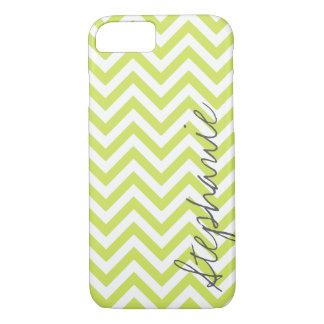Green Zigzag Chevron Pattern with Name iPhone 7 Case