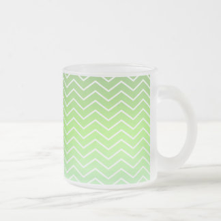 Green zigzag pattern frosted glass coffee mug