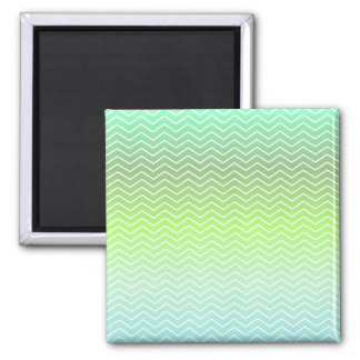Green zigzag pattern 2 inch square magnet